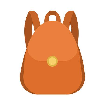 School bag. Brown backpack or rucksack. Student sack