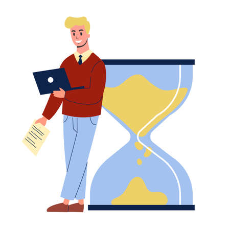 Businessman standing at the big hourglass. Idea of time