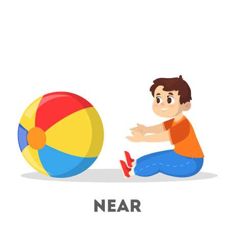 Niño y pelota. Concepto de preposición de aprendizaje. El chico Ilustración de vector