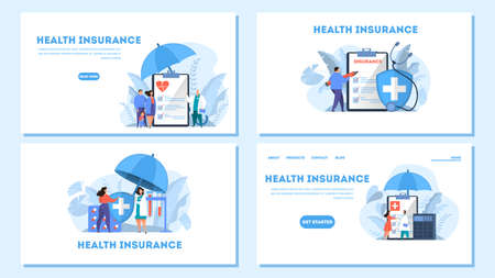 Health insurance concept. People standing at clipboard