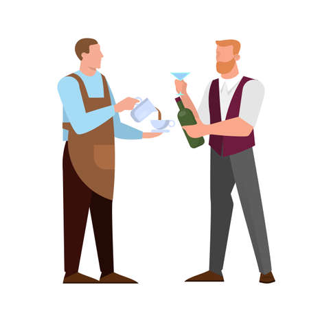 Barista and barmen character. Cafe and restaurant professional Ilustracje wektorowe