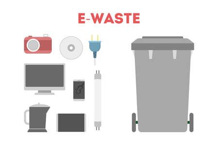 E-waste concept. Idea of electronic trash, computer and Vektorové ilustrace