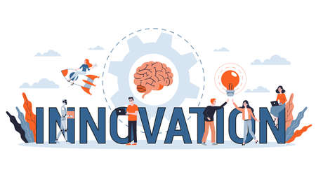 Innovation horizontal banner for your website. Idea of creative solution and modern invention. Business inspiration. Flat vector illustration