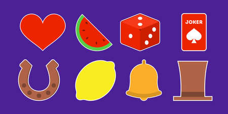 Casino icon set. Dice and lemon, bell and heart