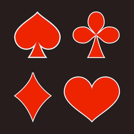 Card deck symbol. Poker play. Heart, spade, diamond and club.