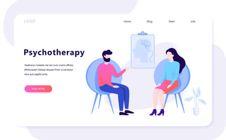 Psychotherapy concept. Sad man sitting on the chair talking to female psychologist. Visit to psychiatrist and depression treatment. Isolated flat illustration