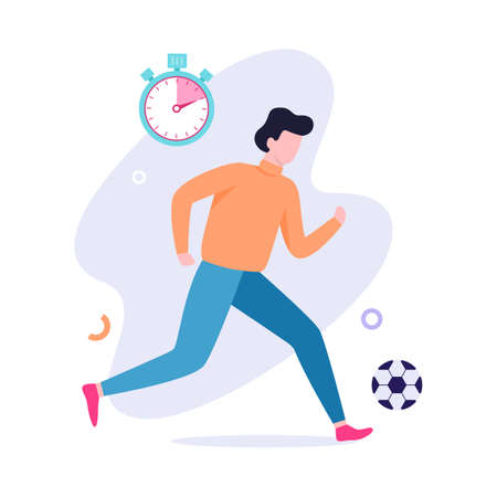 Man playing soccer. Football ball, active lifestyle. Sport game