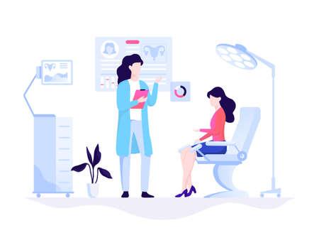 Examen y tratamiento del sistema reproductivo. Ilustración vectorial Ilustración de vector