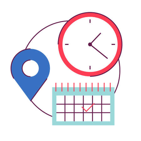 Date, time and place icon. Idea of schedule and planning Stock Vector - 130713120