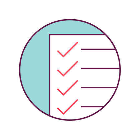 Checklist icon. Paper document with the checkmark on it.