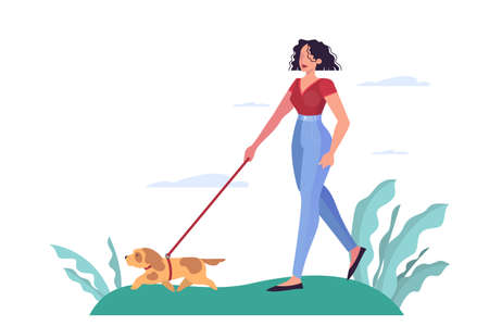 Young woman walking a dog in the park. Attractive girl with a pet. Vector illustration in cartoon style isolated
