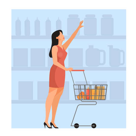 Woman walking with shopping cart in supermarket. Character bying food in the store. Isolated flat vector illustration