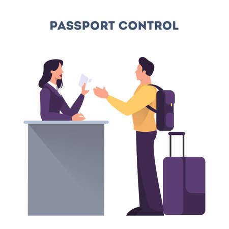 Man standing in the airport at passport control