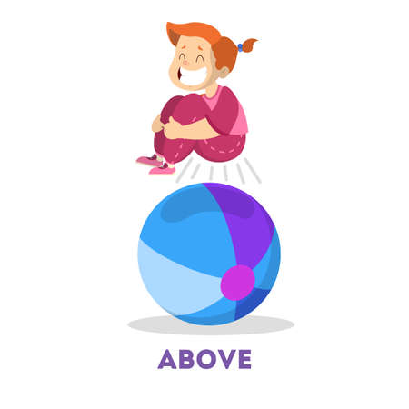 Kid and ball. Learning preposition concept. The girl Illusztráció
