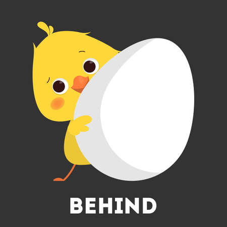 Chicken and egg. Learning preposition with bird Ilustração