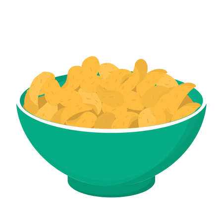 Potato chips in a bowl. Crisp snack, delicious meal full of fat. Illustration