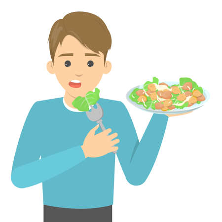 Man eat salad. Fresh healthy vegetable dinner. Guy holding fork. Isolated vector illustration in cartoon style Çizim