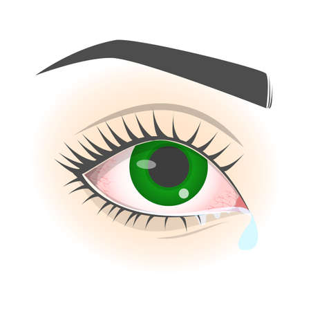 Tear from the eye. Symptom of allergy, flu or cold. Watery eyes. Isolated vector illustration in cartoon style Stockfoto - 130686152