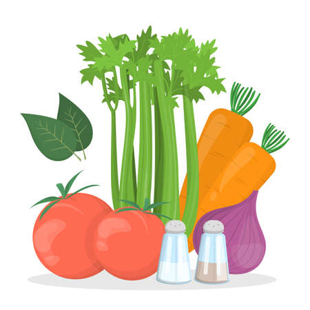 Tomato soup ingredients. Cooking tasty food at home. Healthy ingredient. Isolated vector illustration in cartoon style