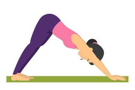Yoga pose downward facing dog. Exercise for body health