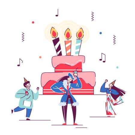 People celebrate birthday around big cake. Calendar event