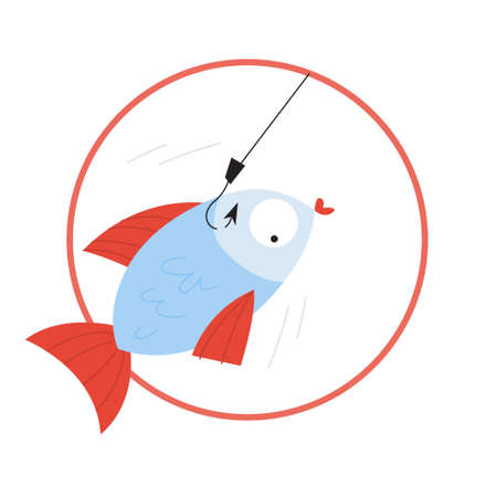 Catch fish on the hook. Idea of fishing hobby. Underwater animal. Isolated flat vector illustration