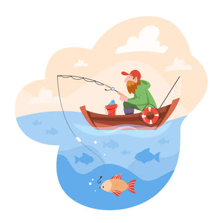 Bearded fisherman sitting in the boat and fishing. Sea or lake