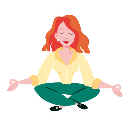 Meditation in a lotus pose. Yoga practice Stock Illustratie