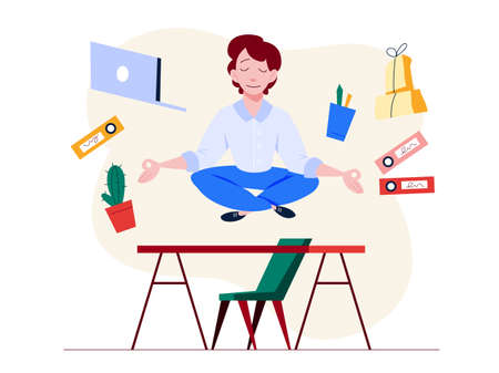 Office worker in yoga pose. Meditation on the work Иллюстрация