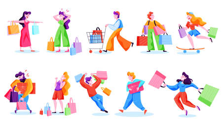 People shopping set. Collection of person with bag Illustration