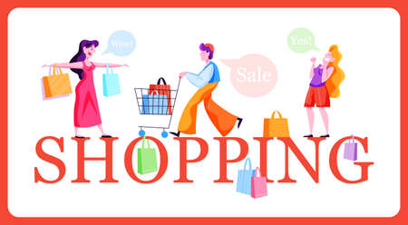 People shopping web banner concept. Collection of person