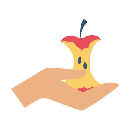 Apple core in hand icon. Delicious fresh eaten fruit.