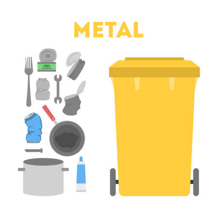 Metal garbage set. Trash container for metal rubbish only