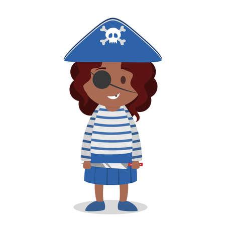 Little girl standing in halloween pirate costume Stock Illustratie