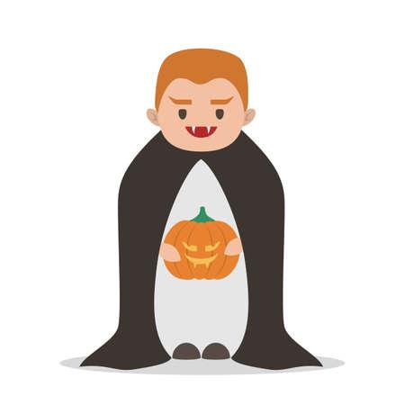 Cute child in a halloween vampire costume