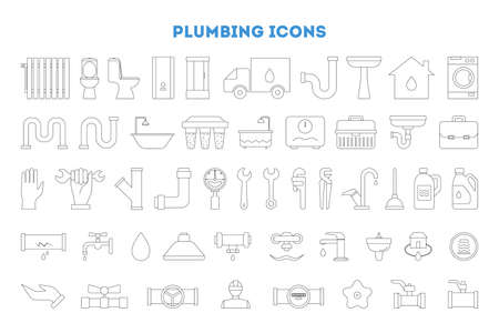 Plumbing icon set. Collection of plumber tool, shower Illustration