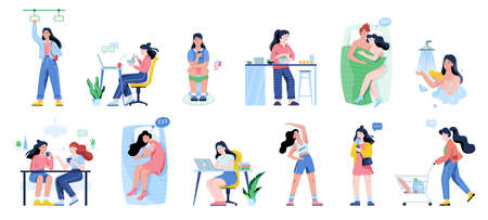 Daily routine of a woman set. Girl having breakfast in the morning, work and sleep. Businessman schedule. Working in office on computer. Isolated vector illustration in flat style