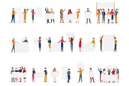 People hold banner set. Collection of group of character Archivio Fotografico - 130769926