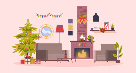 Christmas cozy room with tree and gift boxes. Illustration