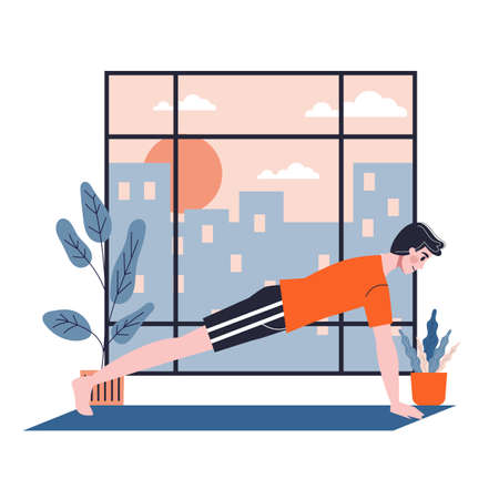 Man doing exercise for arm and chest muscle building  イラスト・ベクター素材