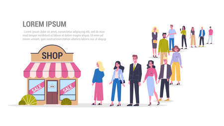 People waiting in queue to the shop sale. Crowd going to the store. Woman with smartphone. Isolated vector illustration in flat style