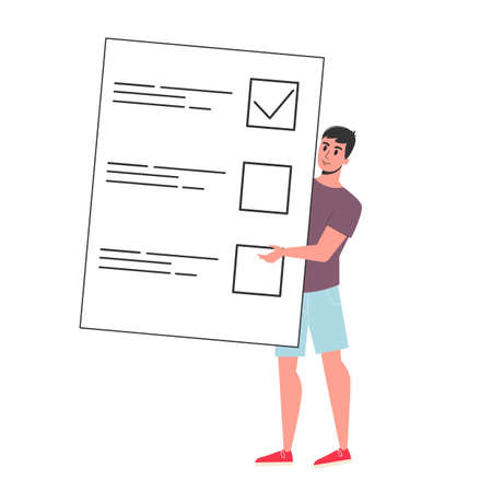 Businessman standing at the big checklist. Character check plan on the paper. Flat vector illustration