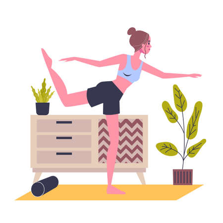 Woman standing in the yoga pose. Stretch exercise for body health and relaxation. Isolated vector illustration in cartoon style