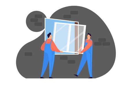 Worker in uniform install window. Professional service Çizim