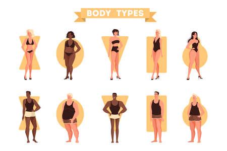 Ensemble de formes de corps masculins et féminins. Triangle et rectangle