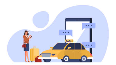 Online taxi service concept. Woman book car in mobile phone