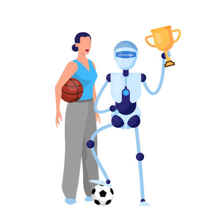 Robot sportsman and woman with ball. Idea of artificial Illustration