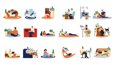 People with laptop computer set. Collection of character Illustration