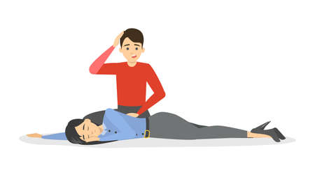 Fainting first aid. Emergency situation, unconscious person on the floor. Medical help. Isolated vector illustration in cartoon style Vectores