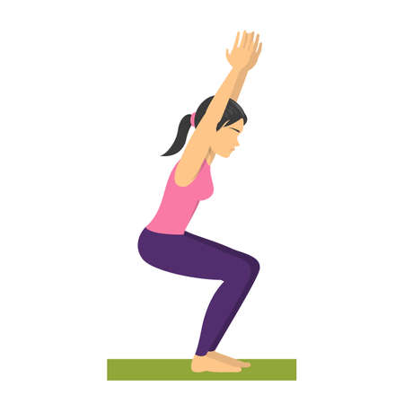 Yoga chair pose. Fitness exercise, balancing position. Sport Illustration
